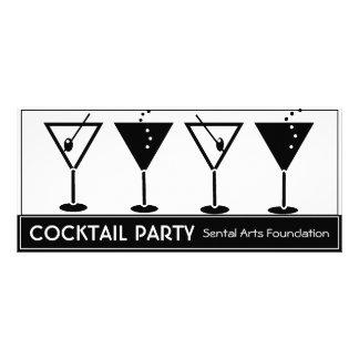 Convite preto e branco do cocktail 10.16 x 22.86cm panfleto
