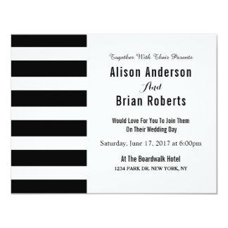 Convite preto e branco simples do casamento