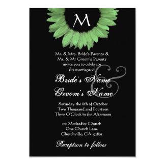 Convite preto e branco verde do casamento do