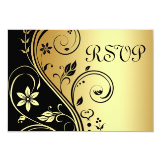 Convite preto floral Wedding do ouro de Rsvp