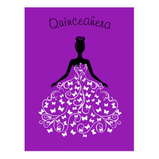 Convite preto roxo de Quinceanera do vestido da