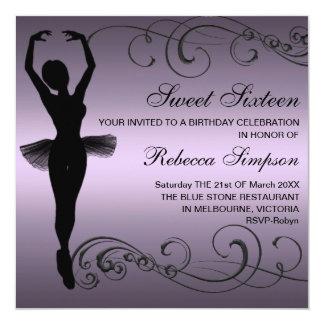 Convite preto & roxo do aniversário da bailarina