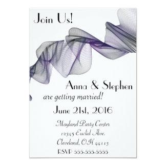 Convite preto & roxo do gótico do véu do casamento