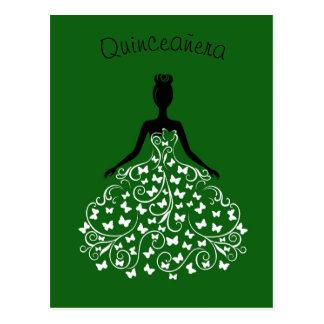 Convite preto verde de Quinceanera do vestido da