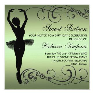 Convite preto & verde do aniversário da bailarina