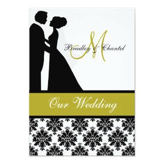 Convite preto, verde, e branco do casamento do