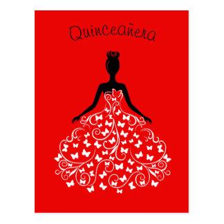Convite preto vermelho de Quinceanera do vestido