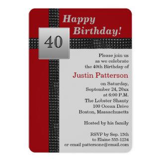Convite preto, vermelho, e cinzento do aniversário