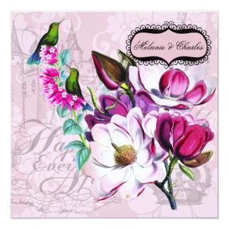 Cartão Convite quadrado do casamento das magnólias dos