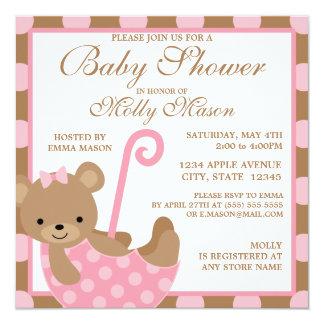 Convite quadrado do chá de fraldas do urso do bebê