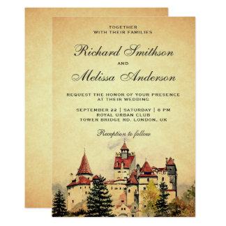 Convite real do casamento do castelo do conto de