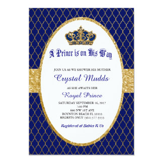 Convite real do príncipe chá de fraldas