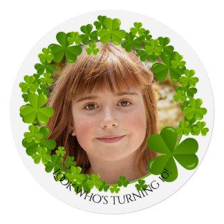 Convite redondo da foto irlandesa do quadro do