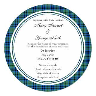 Convite redondo do casamento escocês de Keith