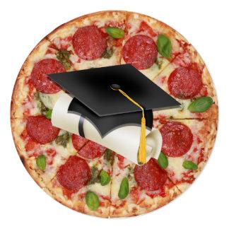 Convite redondo do partido da pizza da graduação