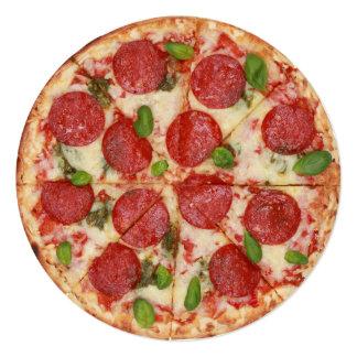 Convite redondo do partido da pizza - SRF Convite Quadrado 13.35 X 13.35cm