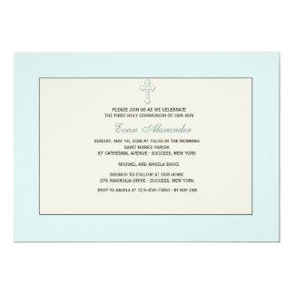 Convite religioso azul convite 12.7 x 17.78cm