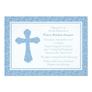 Convite religioso azul de Paisley Convite 12.7 X 17.78cm