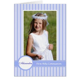 Convite religioso azul listrado da foto cartão de nota