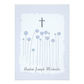 Convite religioso azul precioso