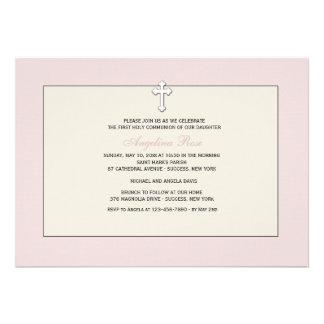 Convite religioso cor-de-rosa