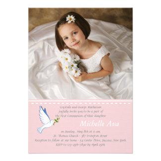 Convite religioso cor-de-rosa da foto da pomba