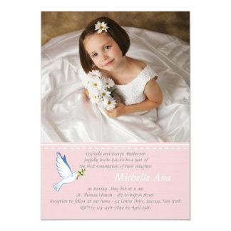 Convite religioso cor-de-rosa da foto da pomba convite 12.7 x 17.78cm