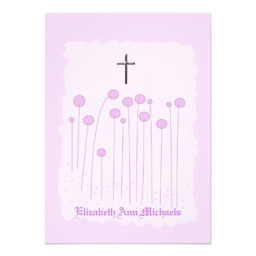 Convite religioso cor-de-rosa precioso
