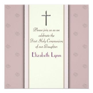 Convite religioso cor-de-rosa transversal de prata