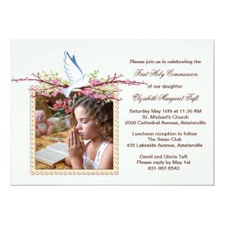 Convite religioso da foto da pomba do primavera convite 12.7 x 17.78cm