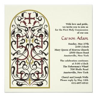 Convite religioso da janela da catedral