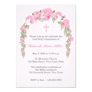Convite religioso da treliça do rosa do rosa