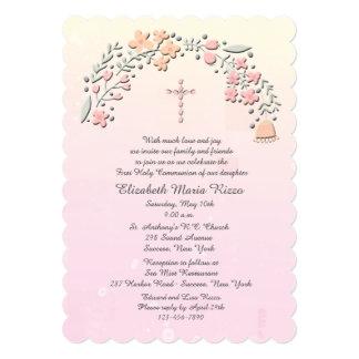 Convite religioso das flores delicadas convite 12.7 x 17.78cm