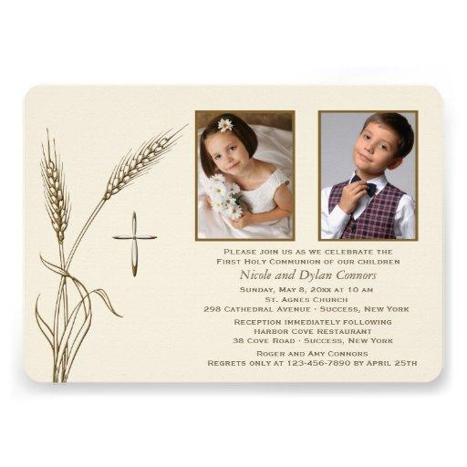 Convite religioso de duas fotos do trigo