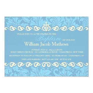 Convite religioso decorativo azul