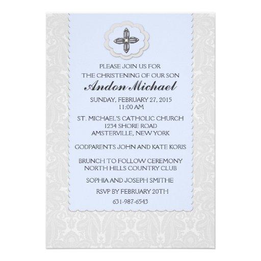Convite religioso do damasco azul celestial