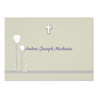 Convite religioso floral simples convite 12.7 x 17.78cm