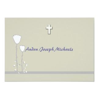 Convite religioso floral simples