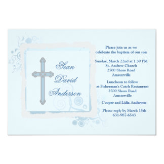 Convite religioso liso azul legal
