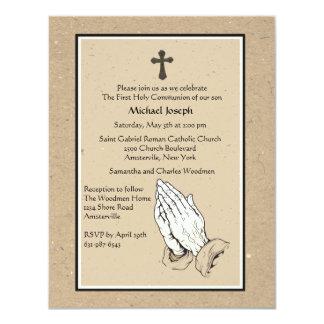 Convite religioso Praying das mãos Convite 10.79 X 13.97cm