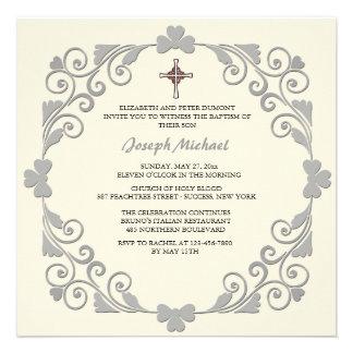 Convite religioso quadrado brilhante