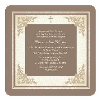 Convite religioso quadrado elegante