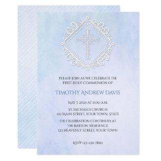 Convite religioso transversal branco da aguarela