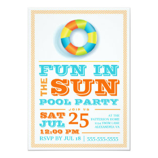 Convite retro colorido da festa na piscina de Sun