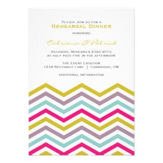 Convite retro colorido do jantar de ensaio de Chev