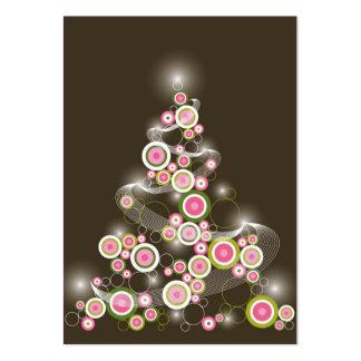Convite retro cor-de-rosa da árvore de Natal dos c Modelos Cartoes De Visita