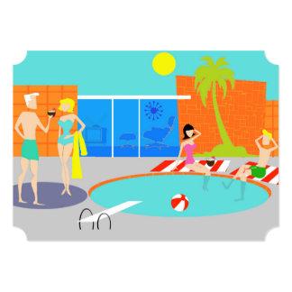 Convite retro customizável da festa na piscina