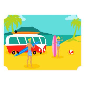 Convite retro customizável do casal do surfista convite 12.7 x 17.78cm