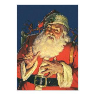 Convite retro de Papai Noel da véspera do natal
