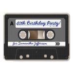 Convite retro do aniversário de 40 anos da cassete convite 11.30 x 15.87cm